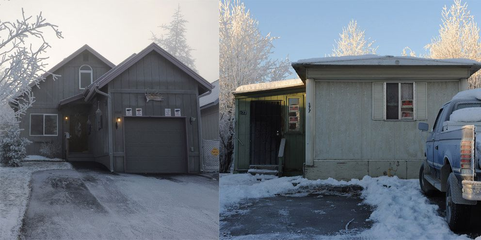 Sam Lee, 48, lives in this trailer, right, in the Penland Mobile Home Park. At left, William Dixiano's Lakeridge Circle address in South Anchorage.