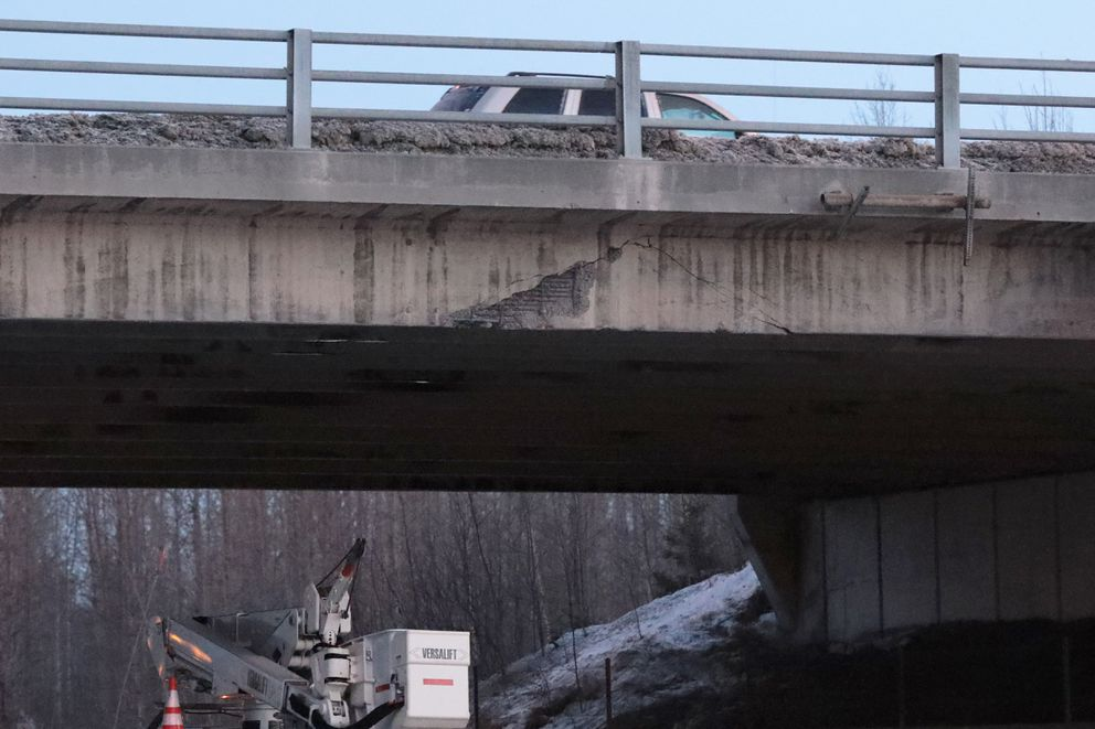 The Tudor Bridge overpass was damaged by a truck that struck it early Thursday morning. (Anne Raup / ADN)