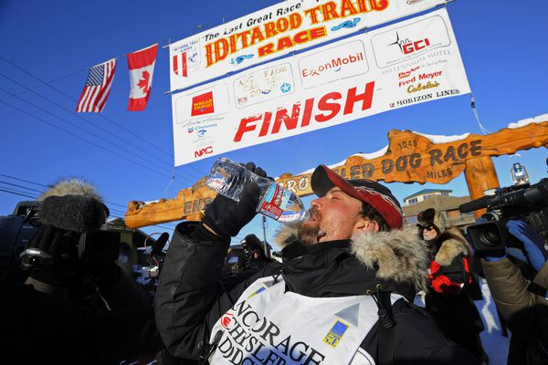 Lance Mackey gets a drink of water after arriving on Front Street in Nome to claim the 2009 Iditaord championship. (Marc Lester / ADN archive 2009)