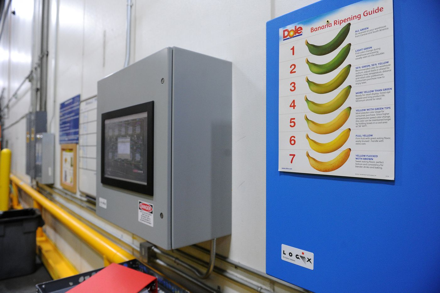 A banana-ripening chart hangs next to the control panel that controls the rooms and other parts of the Carrs Safeway distribution center in Anchorage, Alaska on Thursday, Feb. 8, 2018. (Bob Hallinen / ADN)