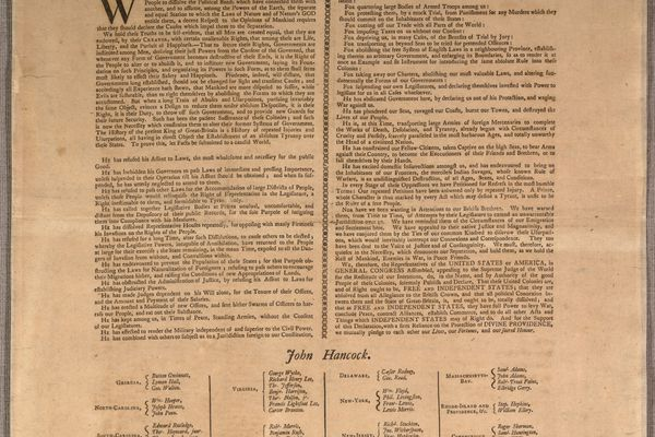 The Declaration of Independence printed with the names of the signers. Mary Katherine Goddard's name is at the bottom. MUST CREDIT: Library of Congress, Rare Book and Special Collections Division, Continental Congress & Constitutional Convention Broadsides Collection