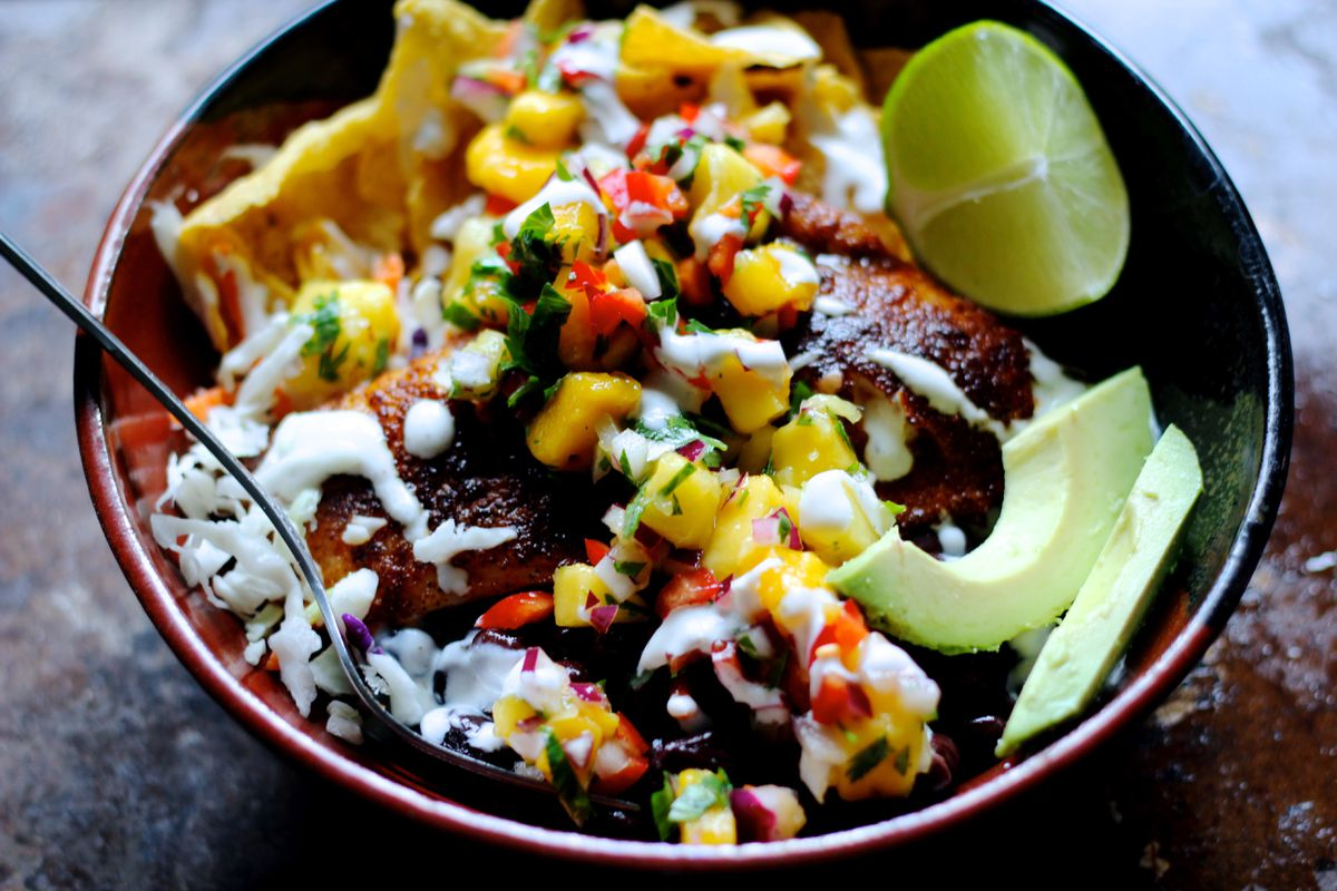 Taco bowl made with rockfish (Maya Wilson / Alaska from Scratch)