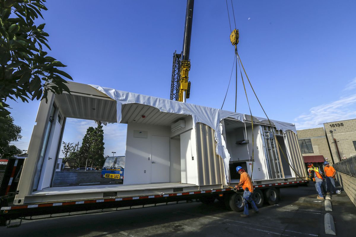 A nonprofit in california is turning shipping containers into homeless housing anchorage daily - Container homes in los angeles ...