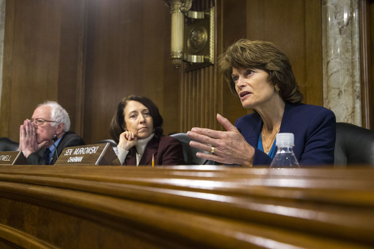 From right: Sens. Lisa Murkowski (R-Alaska), Maria Cantwell (D-Wash.) and Bernie Sanders (I-Vt.) during the confirmation hearing for former Texas Gov. Rick Perry, President-elect Donald Trump's pick for secretary of energy, before the Senate Energy and Natural Resources Committee on Capitol Hill, in Washington, Jan. 19, 2017. (Al Drago/The New York Times)