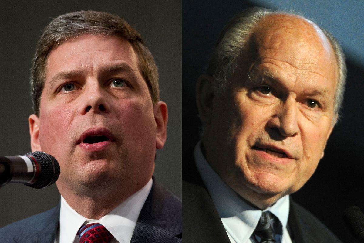 Former Sen. Mark Begich (left) and Gov. Bill Walker (right). Both men are running for governor in 2018