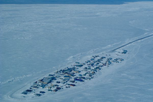 Sea ice off the village of Kivalina in northern Alaska. (Photo by Ned Rozell)
