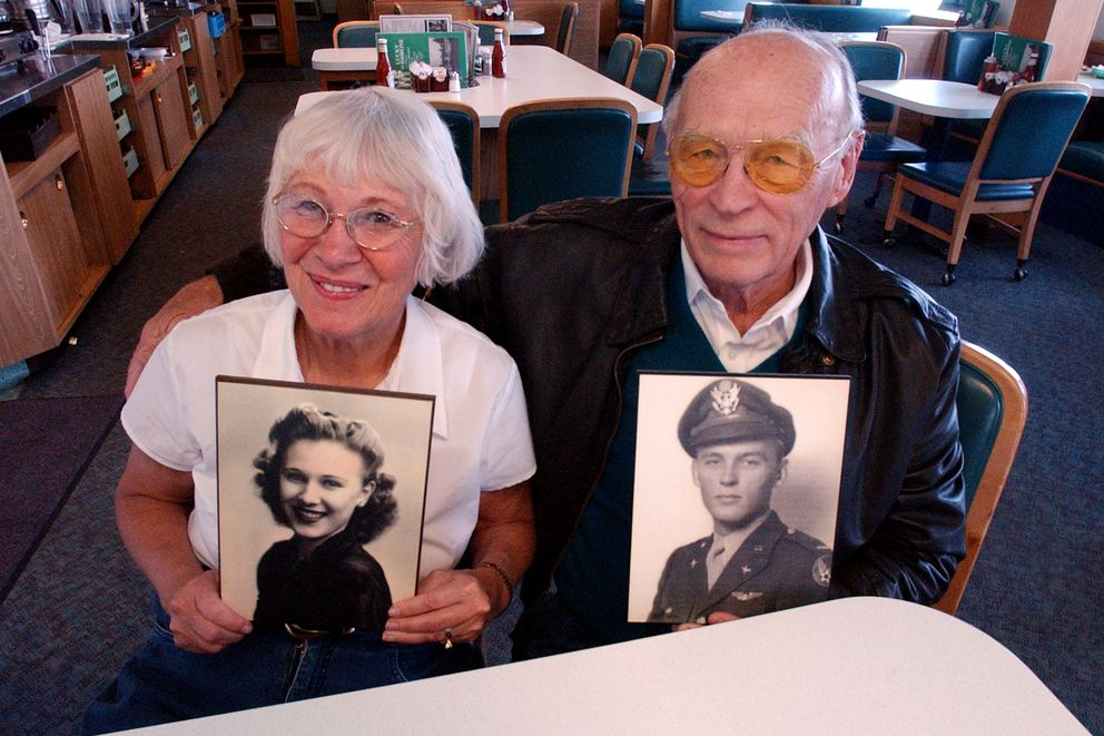 Lucky Wishbone owners Peggy and George Brown in 2002 and as they looked in 1944 when they were married. The photos and dozens more are among memorabilia displayed on the walls of the restaurant they opened in 1955. (Erik Hill / ADN)