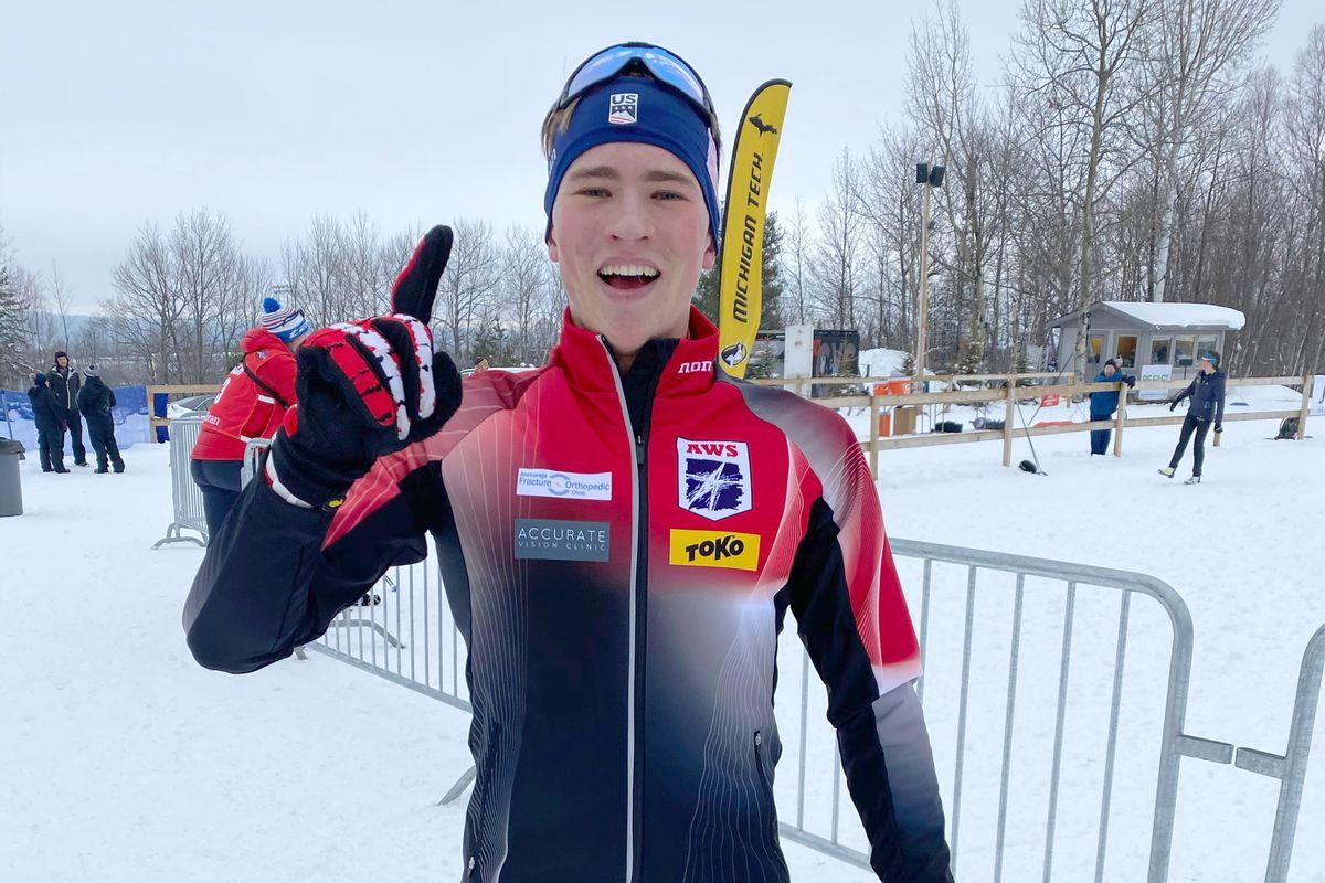Gus Schumacher won his first U.S. senior cross country championship Thursday in Michigan. (Photo by Seiji Takagi)