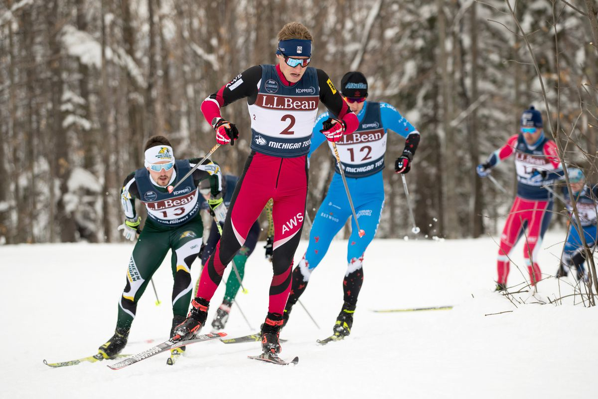 Gus Schumacher, shown here on his way to a national championship in the men's freestyle sprint earlier this year in Michigan, was was the top qualifier and seventh overall in the same event Saturday at the World Junior Championships. (Photo by Reese Brown / xcski.org)