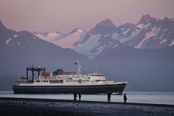 The M/V Tustumena, a 296-foot ferry of the Alaska Marine Highway System, departs Homer on Thursday evening, September 1, 2016. The Tusty route also includes towns on Kodiak Island, the Alaska Peninsula and the Aleutian Islands. (Marc Lester / Alaska Dispatch News)