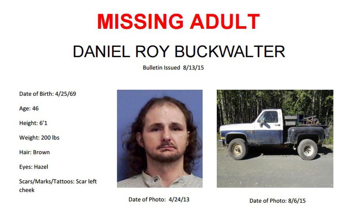 Detail from a missing-persons poster for Daniel Roy Buckwalter, 46, now presumed dead under suspicious circumstances after he was last seen Aug. 4. (CourtesyAlaska State Troopers)