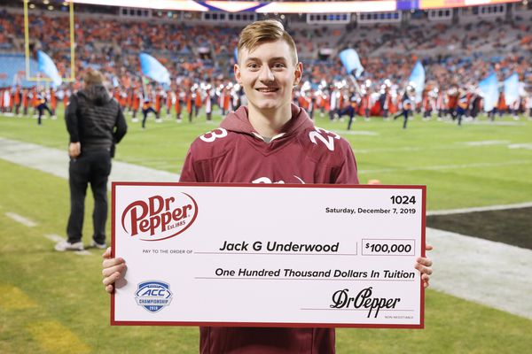 Anchorage's Jack Underwood won $100,000 during a halftime promotion at the ACC championship game between Clemson and Virginia. (Courtesy Dr Pepper)