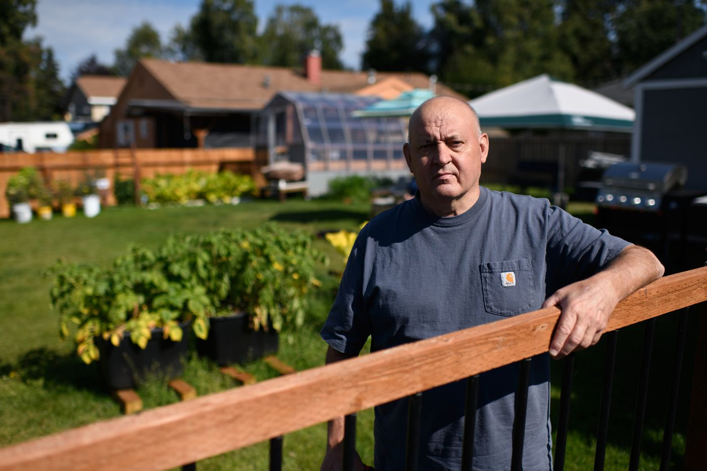 Anchorage resident Frank Philip spent 18 days hospitalized with COVID-19 in July. (Marc Lester / ADN)