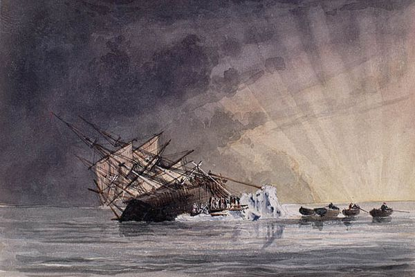 An illustration of the position of the HMS Terror at sunrise on July 14, 1837. (Owen Stanley, Library and Archives Canada)