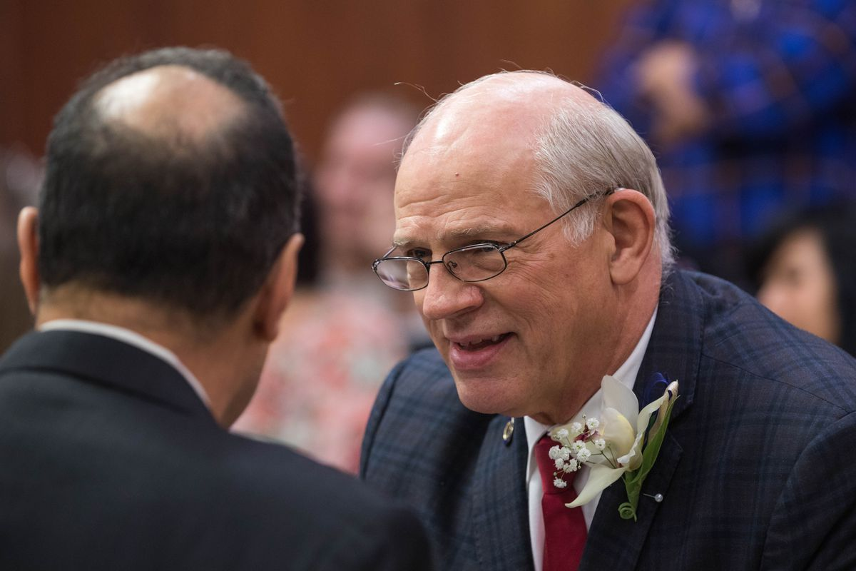 Sen. John Coghill, R-Fairbanks, speaks with other members of the Senate during the first day of the legislative session on Jan. 15, 2019 at the Alaska State Capitol in Juneau. (Loren Holmes / ADN)