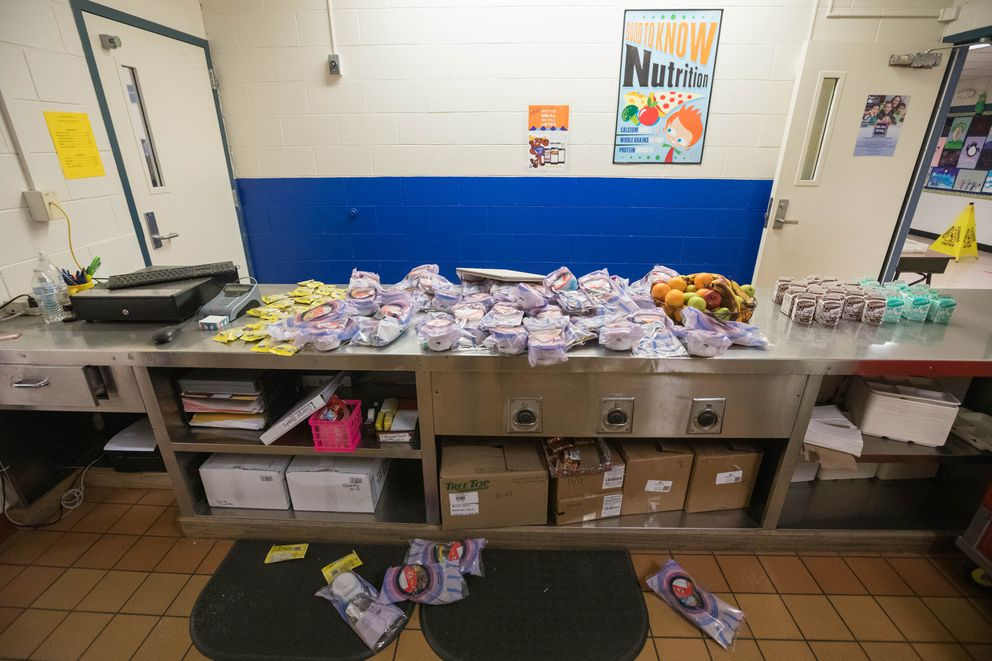 Food for breakfast sits abandoned at Eagle River Elementary School on Tuesday, Dec. 4, 2018. School was about to begin on Friday when a 7.0 earthquake struck, damaging the school so severely that officials decided to move students to different buildings for the rest of the year. (Loren Holmes / ADN)
