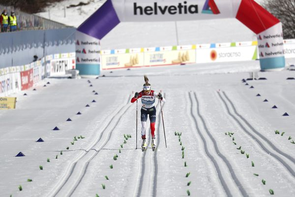 Norway's Therese Johaug on her way to crossing the finish line to win the WSC Women's Mass Start 30km Classic cross country event at the FIS Nordic World Ski Championships in Oberstdorf, Germany, Saturday, March 6, 2021. (AP Photo/Matthias Schrader)