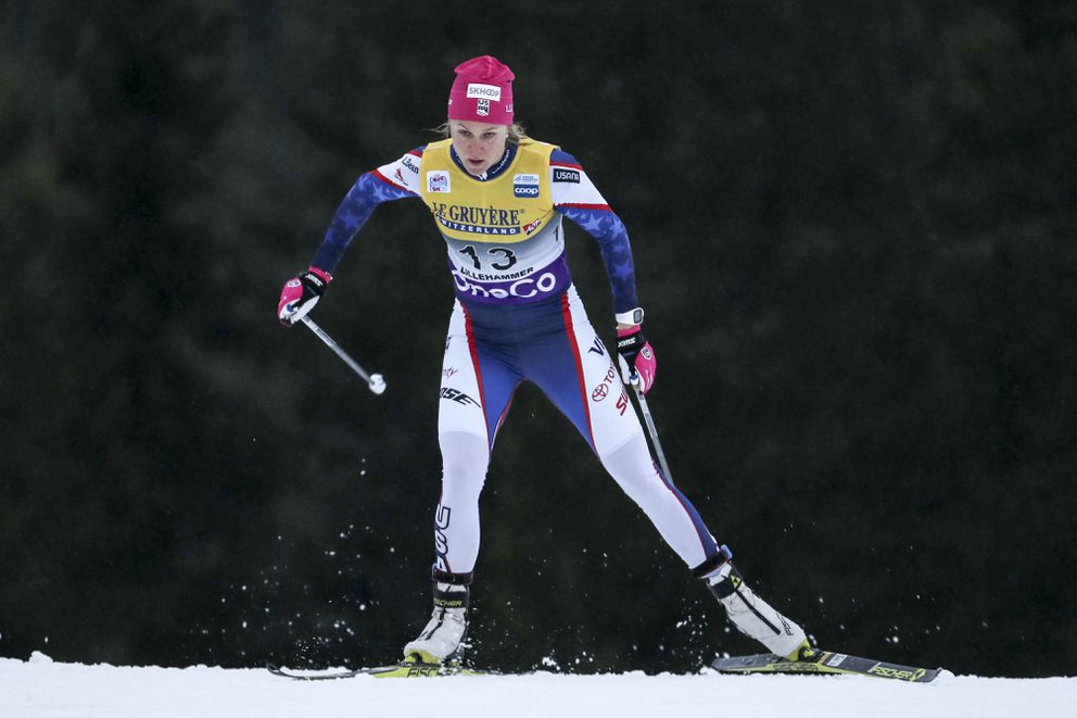 Anchorage's Sadie Bjornsen competes in prologue of the women's Cross Country Skiing Sprint event at the FIS Nordic Skiing World Cup in Lillehammer, Norway, on Nov. 30, 2018. (Geir Olsen/NTB scanpix via AP)