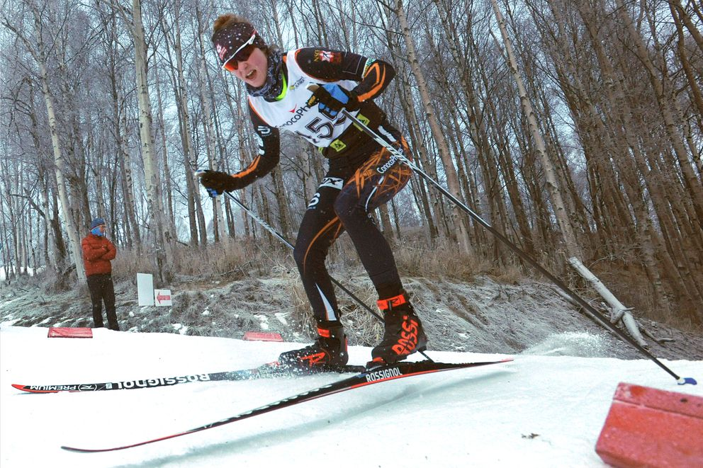 Kendall Kramer skies to victory at a Besh Cup race this winter at Kincaid Park. (Bill Roth / ADN)
