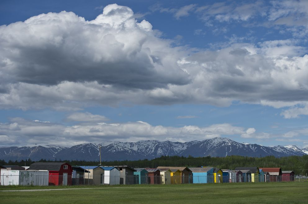 Alaska State Fair sheds are lined up for storage on the fairgrounds in Palmer on May 28, 2020. (Marc Lester / ADN)