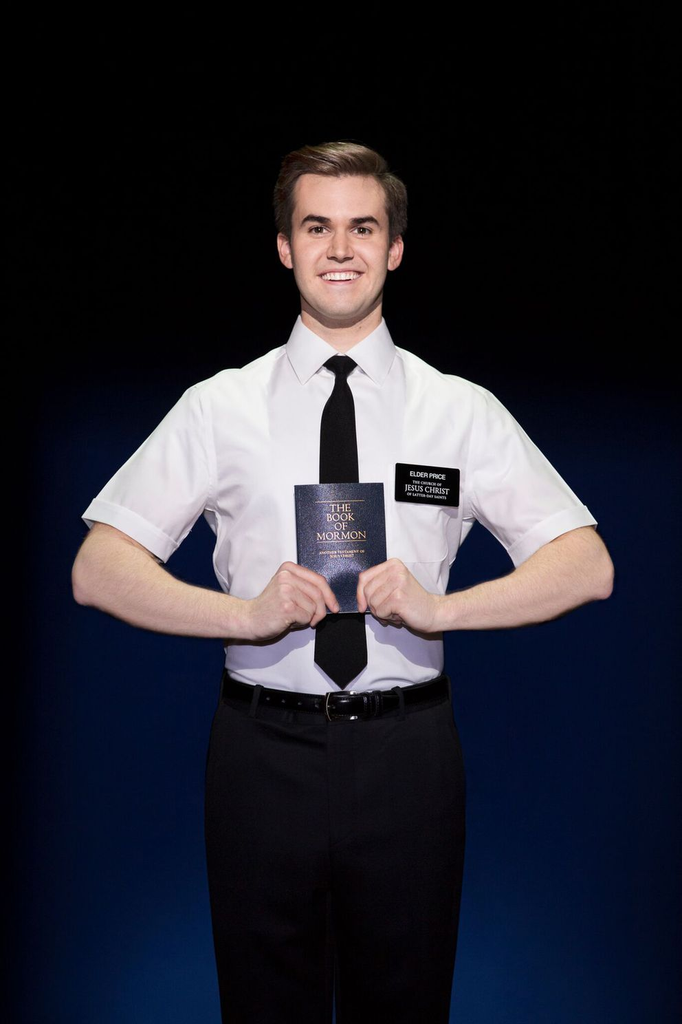 "Kevin Clay plays Elder Price in ""The Book of Mormon"" (Photo by Julieta Cervantes)"