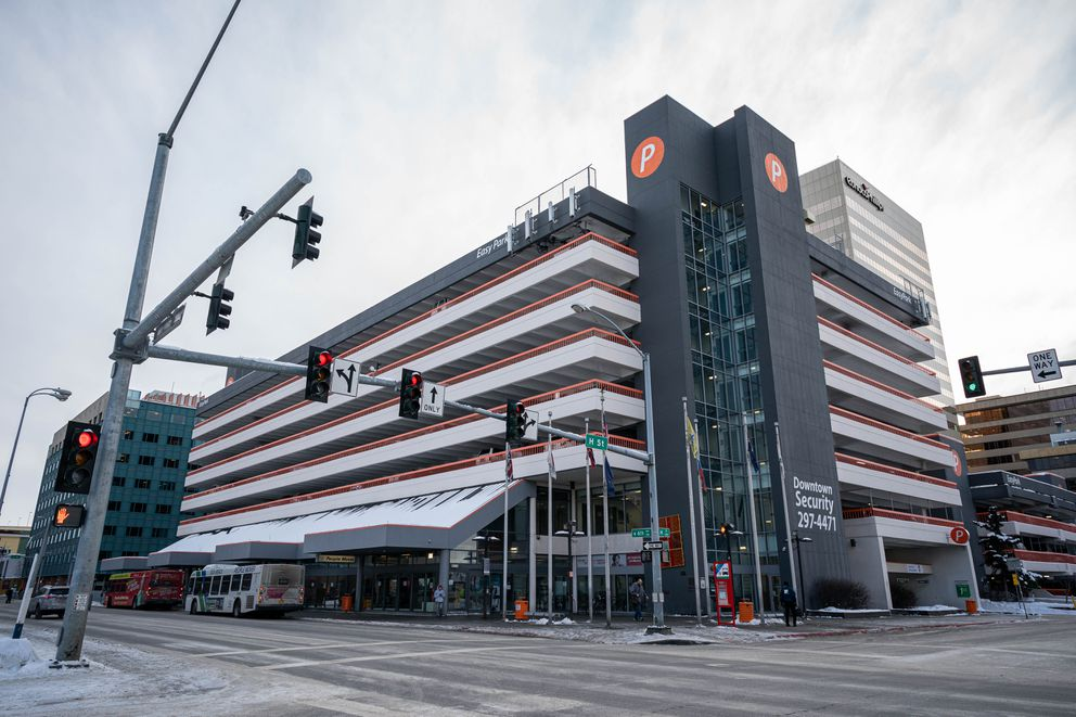 The Downtown Transit Center, photographed Thursday, Jan. 30, 2020. Developers had planned to break ground this spring on a 13-story mixed-use building that would include a boutique hotel, constructing it above the existing transit center and next to the parking structure. (Loren Holmes / ADN)