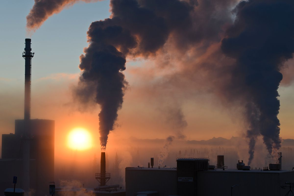 Plumes rise into minus 40 degree air from UAF's Ben Atkinson Building, which houses the university's heating and power plant on January 9, 2020. (Marc Lester / ADN)