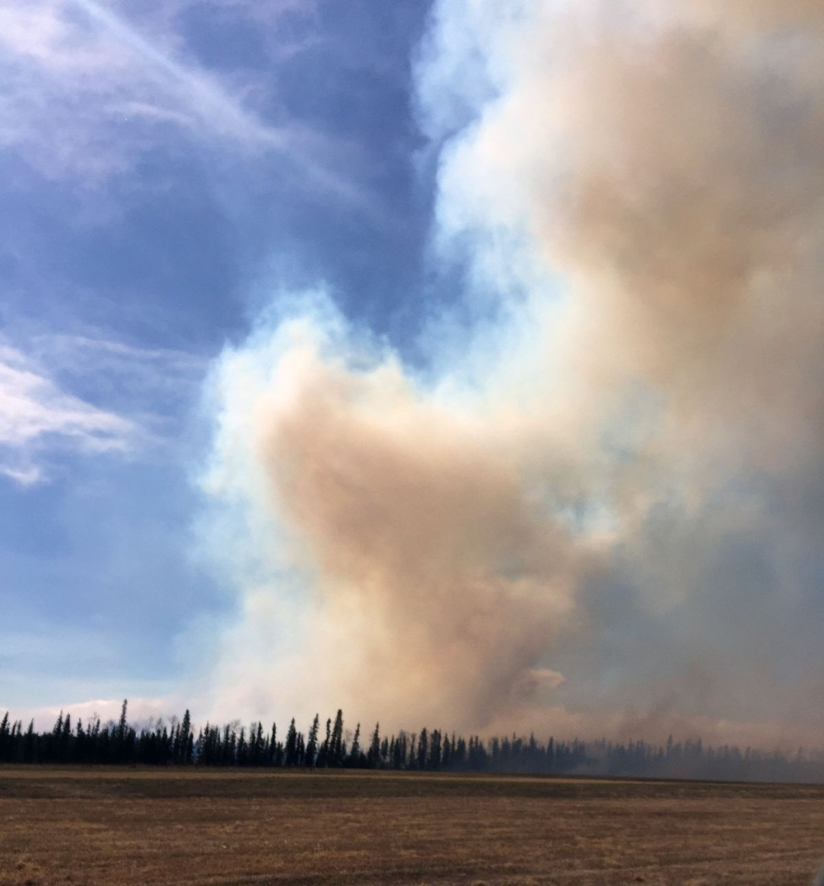 Smoke rises from the North Eielson Fire off Tanana Loop Extension near Delta Junction on May 11, 2018. (Alaska Division of Forestry)