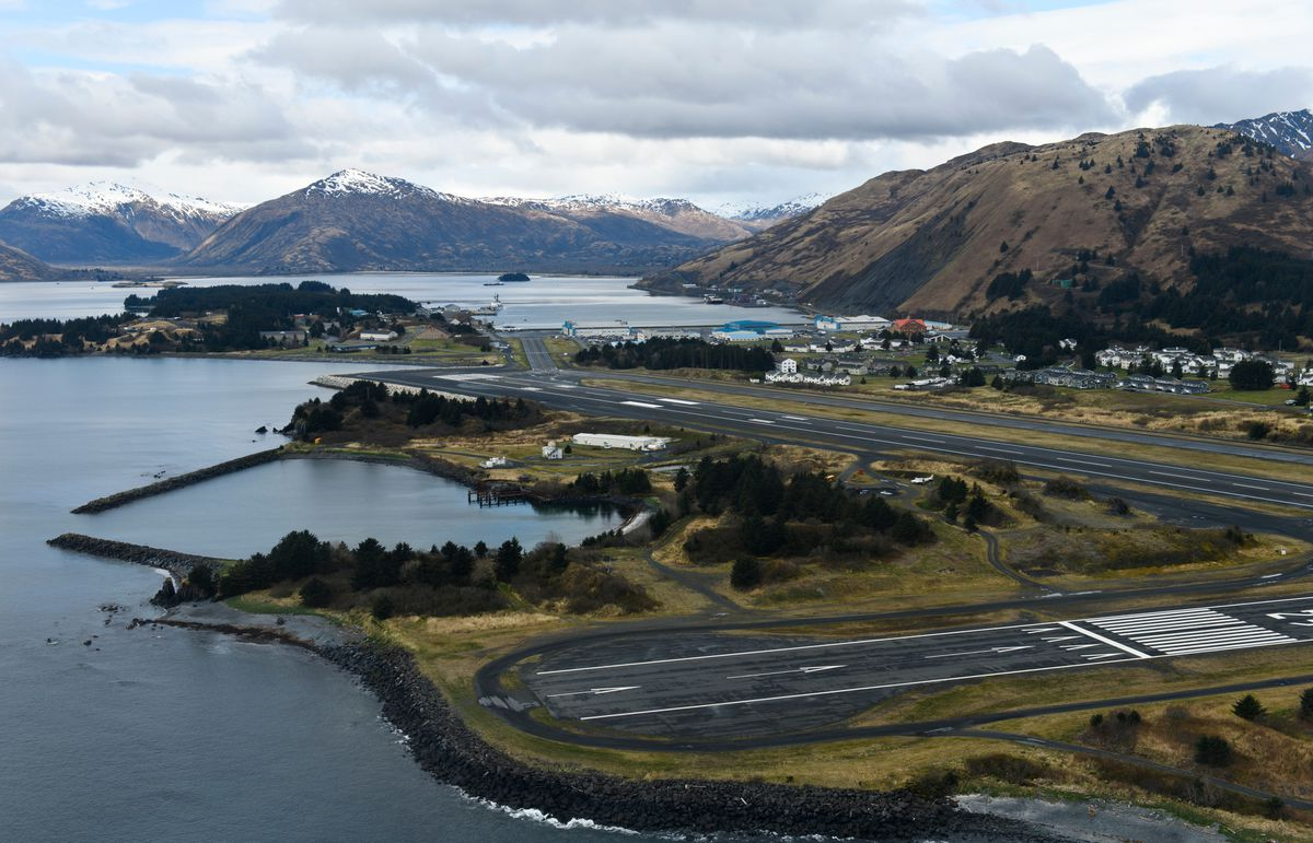 U.S. Coast Guard Station Kodiak is visible during a flight on May 14, 2019. (Marc Lester / ADN)