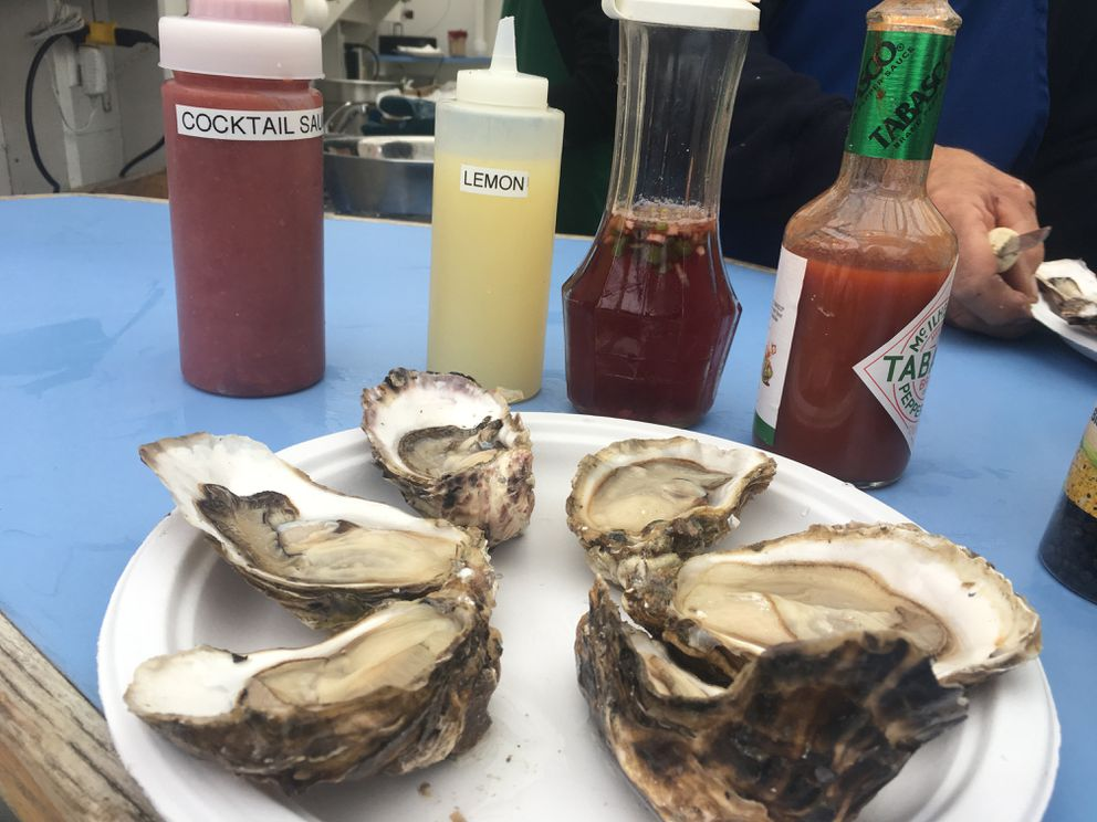 Prince William Sound oysters from the Pristine Products oyster stand at the Alaska State Fair in Palmer, August 2018. (Photo by Mara Severin)
