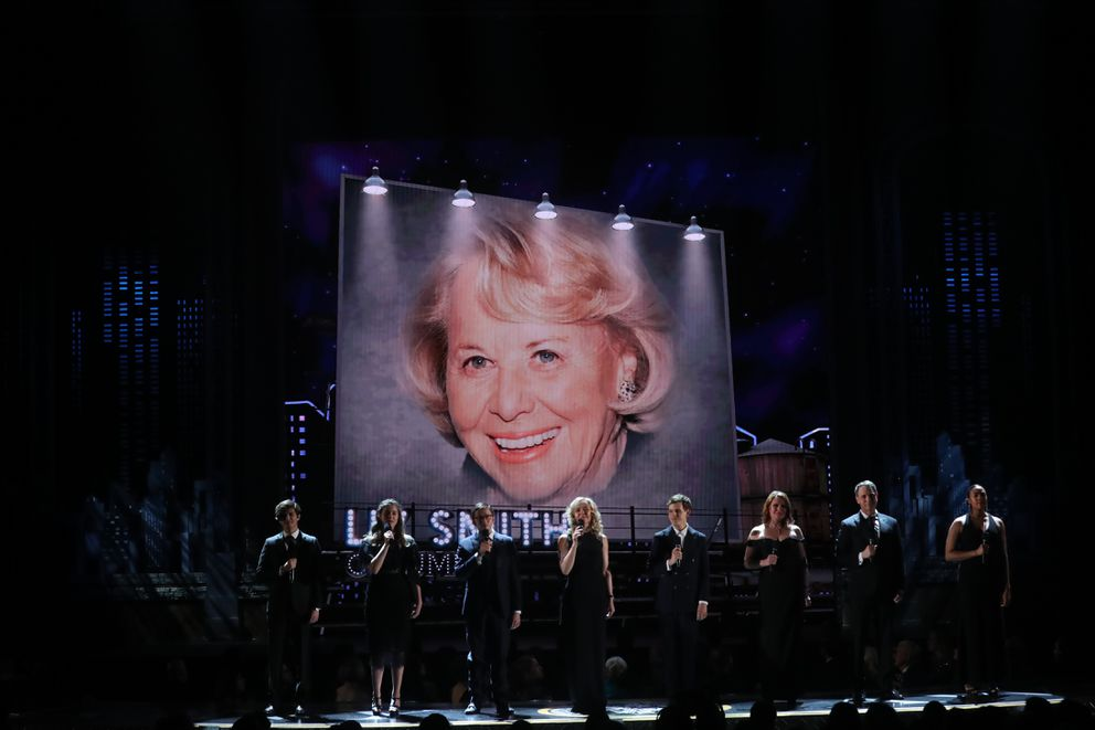 A picture of Liz Smith during the In Memoriam portion of the 72nd Annual Tony Awards at Radio City Music Hall in New York, June 10, 2018. (Sara Krulwich/The New York Times)
