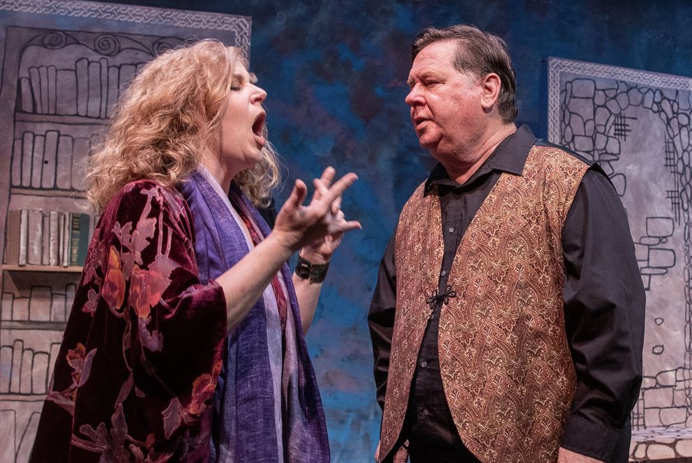 Katie Strock and David Haynes as the Storytellers in 'The Woman Who Lost Her Voice, ' a new play by Anchorage playwright Jill Bess. (Photo by George Stransky)