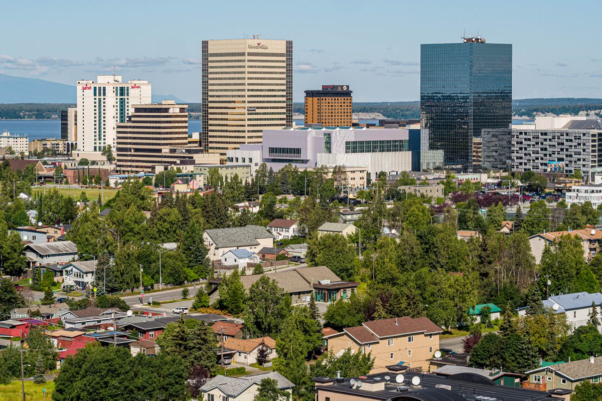 Downtown Anchorage, photographed on Wednesday, Aug. 5, 2020. (Loren Holmes / ADN)