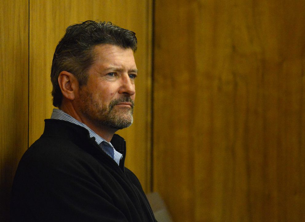 Todd Palin listens to the proceeding during his son Track Palin's change of plea hearing in Veterans Court at the Boney Courthouse in Anchorage, AK on Wednesday, Oct 3, 2018. (Bob Hallinen / ADN)