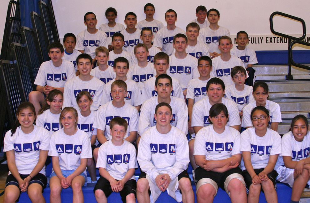 In this photo from the 2010 Nanook Basketball Camp in Nome, future NBA draft pick Justinian Jessup is sitting in the third row from the bottom on the far right. One row below him and three players from the right is Christian Leckband, who went on to play for UAA. (Photo by Janeen Sullivan)