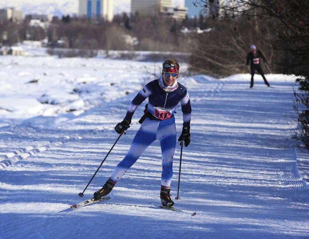 Christi Schmitz skis along the Tony Knowles Coastal Trail. (Emily Mesner / ADN)