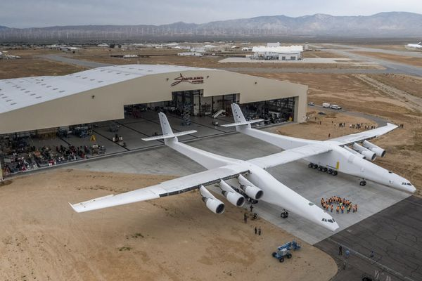 Paul Allen's Stratolaunch airplane emerges from its hangar in Mojave, California on May 31, 2017. Photo courtesy of Stratolaunch Systems Corp.