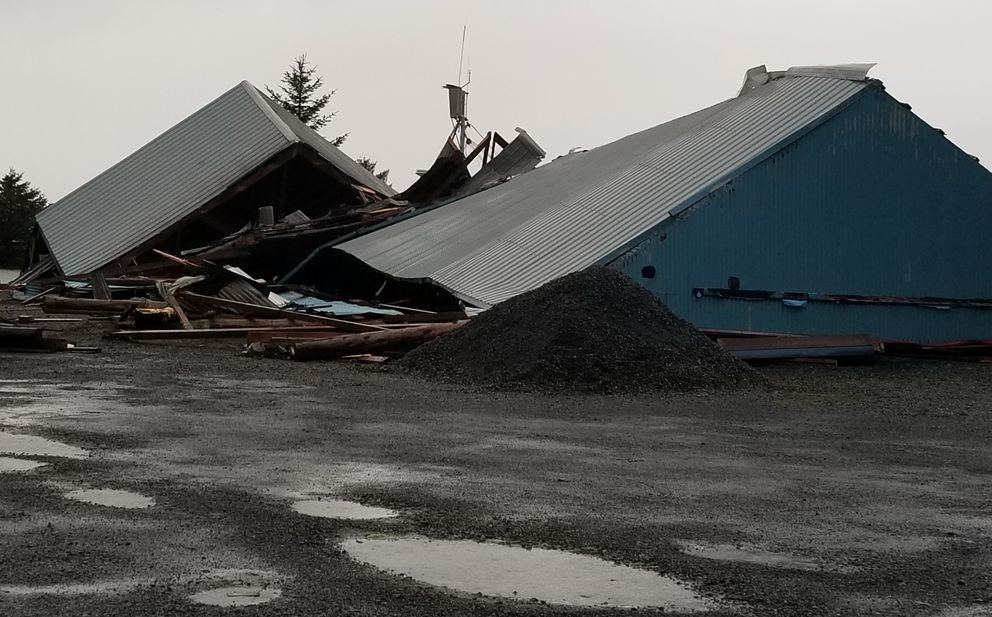 A warehouse that's part of Prince William Marina collapsed during a storm Tuesday in Cordova.(Photo courtesy James Dundas)