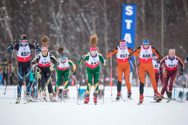 Varsity and JV girls start the freestyle relay race during the Cook Inlet Conference cross-country ski championships Saturday, Feb. 9, 2019 at Kincaid Park. (Loren Holmes / ADN)
