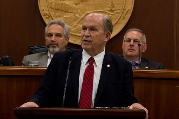 Senate President Pete Kelly, left, and Speaker of the House Bryce Edgmon, right, listen as Gov. Bill Walker gives his speech. Gov. Bill Walker gave his State of the State address to a joint session of Alaska's House of Representatives and Senate at the State Capitol in Juneau on January 18, 2017. (Marc Lester / Alaska Dispatch News)
