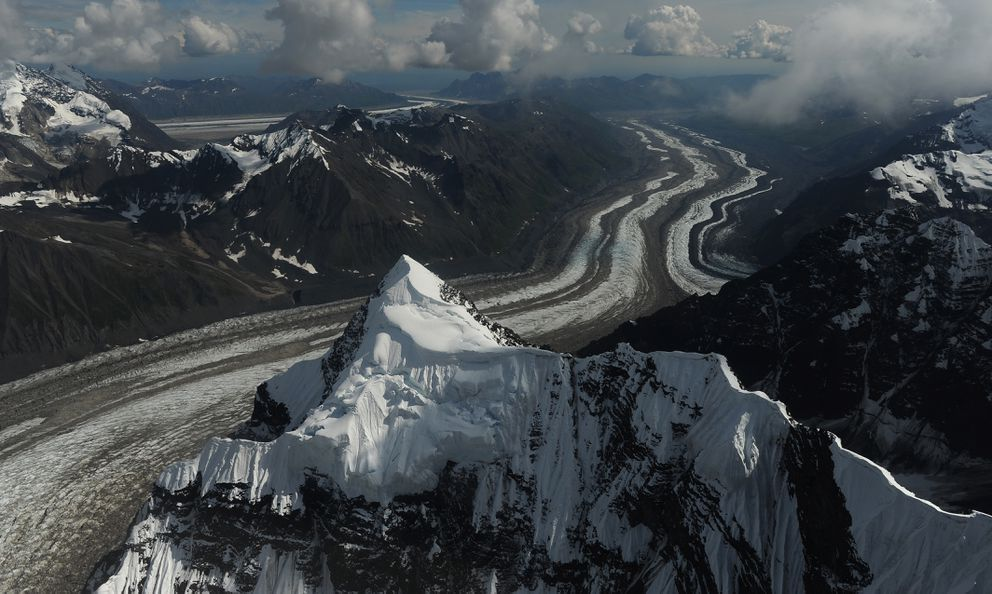 The Tokositna Glacier with the Ruth Glacier in the background are seen as Talkeetna Air Taxi pilot Kris Peterson flies a beaver airplane on a flightseeing tour of Denali. (Bob Hallinen / ADN)