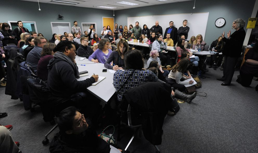 UAA School of Education interim director Claudia Dybdahl explains the School of Education's loss of accreditation for its initial licensure programs to a classroom full of students on Monday. (Bill Roth/ ADN)