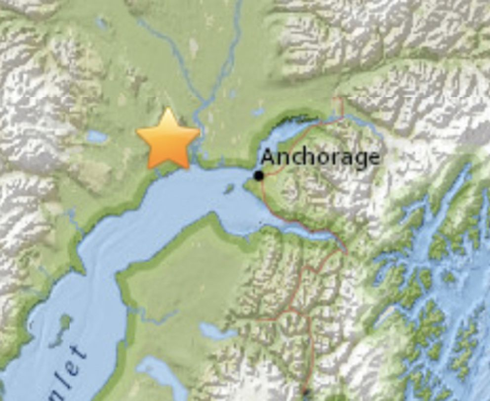 Location of earthquake on Thursday evening. (USGS)