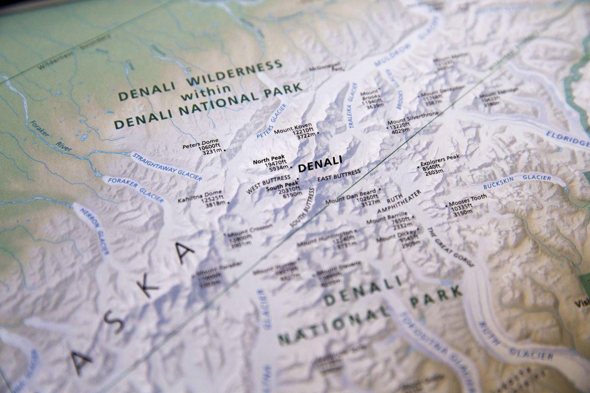 A National Park Service map depicting the renamed Denali. (AP Photo/Andrew Harnik, file)