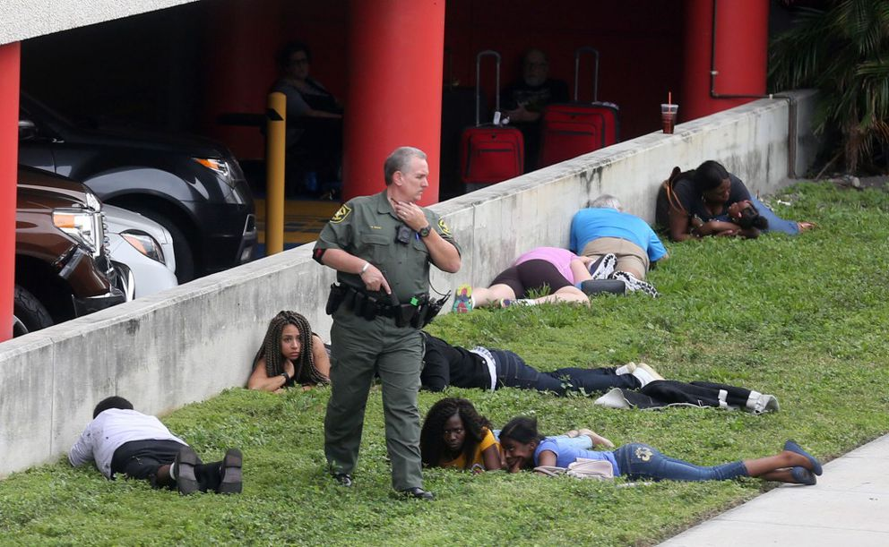 First responders secure the area outside the Fort Lauderdale-Hollywood International airport on Friday, Jan. 6, 2017, in Fort Lauderdale, Fla., after authorities said multiple people died after a lone suspect opened fire at the airport. (Mike Stocker/South Florida Sun-Sentinel/TNS)