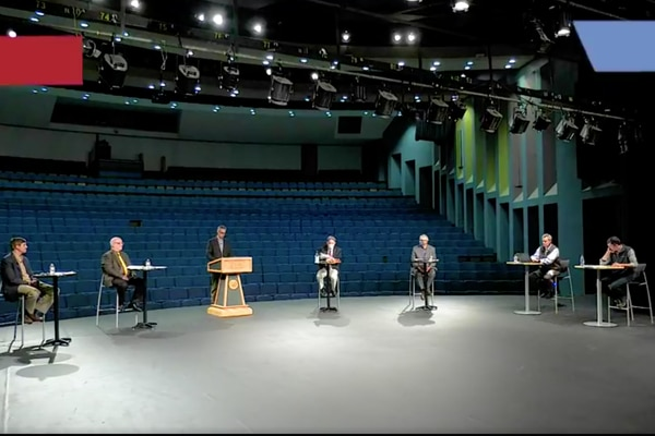 UAA Ballot Measure 1 debate with Robin Brena, Chair of Vote Yes for Alaska's Fair Share and Senator Bill Wielechowski, D-Anchorage, Roger Marks, former petroleum economist for the Alaska Department of Revenue and Tom Walsh of Petrotechnical Resources of Alaska on Tuesday, Oct. 13, 2020.(Screenshot)
