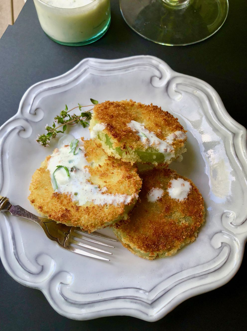 Fried green tomatoes with herb buttermilk sauce (Photo by Kim Sunée)