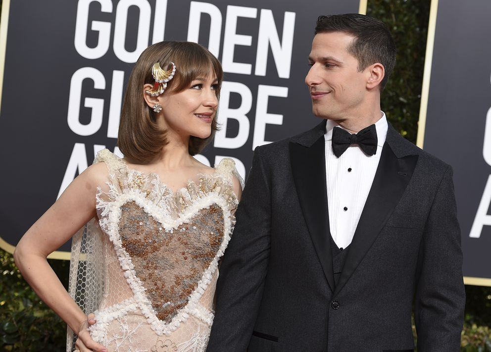 Joanna Newsom, left, and Andy Samberg arrive at the 76th annual Golden Globe Awards at the Beverly Hilton Hotel on Sunday, Jan. 6, 2019, in Beverly Hills, Calif. (Photo by Jordan Strauss/Invision/AP)