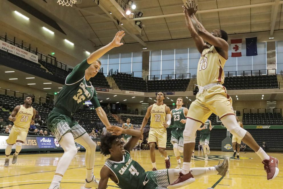 College of Charleston's Joe Chealey shoots for the basket during a Great Alaska Shootout game against Cal Poly on Wednesday, Nov. 22, 2017. Cal Poly won 73-68. (Loren Holmes / ADN)