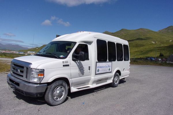 The experimental Unalaska City Bus. Recently, the local government gave free rides to 261 passengers in seven days, to get the public's views on perhaps establishing a public transportation system in a town now only served by taxis. (Jim Paulin / Dutch Harbor Fisherman)